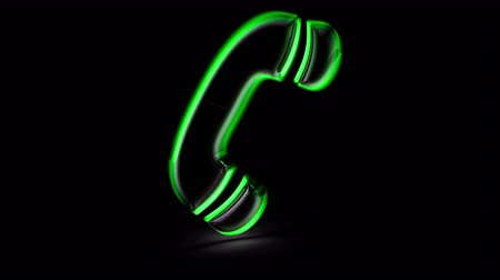 Call icon in black background. Looping footage. 3D Illustration.