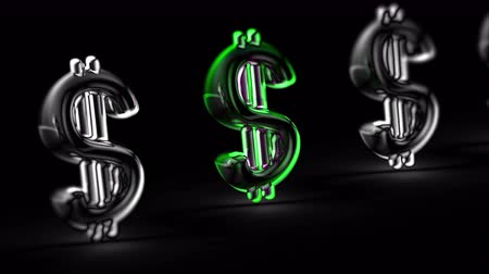 Dollar icon in black background. Looping footage. 3D Illustration.
