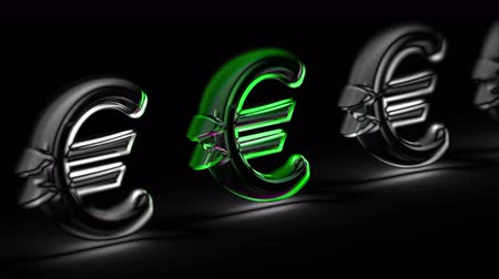 Euro icon in black background. Looping footage. 3D Illustration.