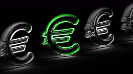 eur : Euro icon in black background. Looping footage. 3D Illustration.