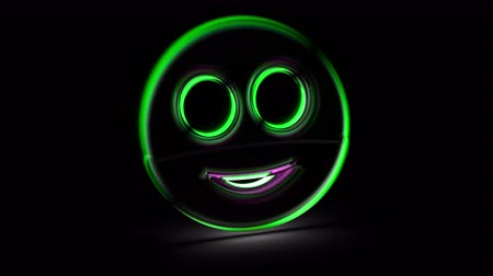 Smile icon in black background. Looping footage. 3D Illustration.