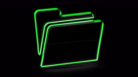 портфель : File icon in black background. Looping footage. 3D Illustration.