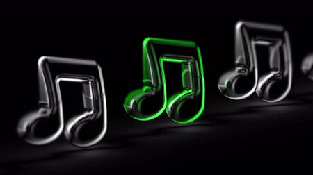 Musical note in black background. Looping footage. 3D Illustration.