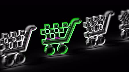 carrello spesa : Sell icon in black background. Looping footage. 3D Illustration.