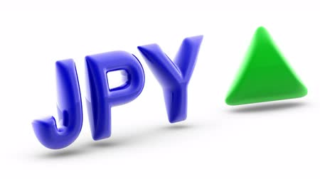Japanese yen sign in white background. Index up. 3D Illustration.