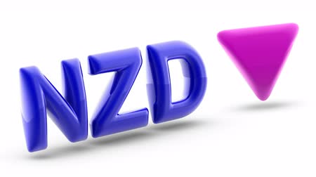 üt : New Zealand dollar sign in white background. Index down. 3D Illustration.