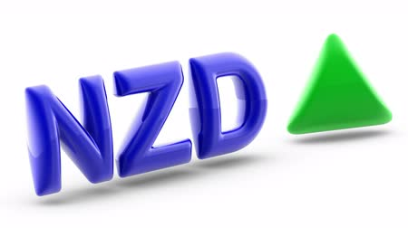 New Zealand dollar sign in white background. Index up. 3D Illustration.
