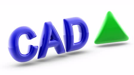 Canadian dollar sign in white background. Index up. 3D Illustration. Stok Video