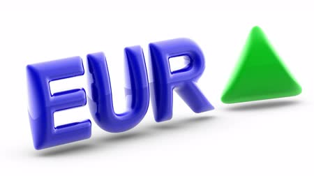 трейдер : Euro sign in white background. Index up. 3D Illustration. Стоковые видеозаписи