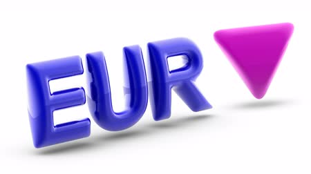 Euro sign in white background. Index down. 3D Illustration. Stok Video