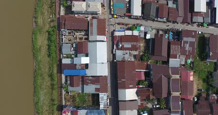 chiangkhan : 4K Aerial View. Flying over Chiang Khan District. Aerial camera shot. Chiangkhan , Loei, Thailand.