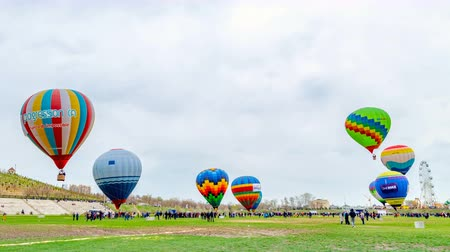 Shymkent, Kazakhstan - March 16, 2018: Festival of balloons in cloudy weather.