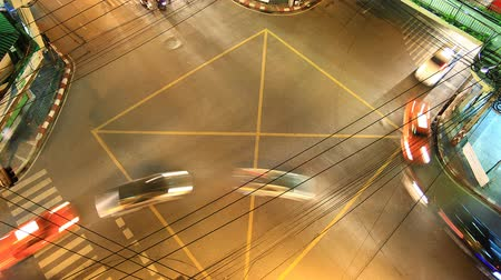 encruzilhada : Traffic crossroad at night, time lapse Stock Footage