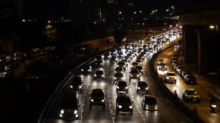 auto estrada : highway busy traffic at night, driving at rush hour