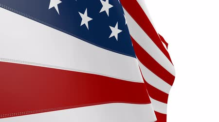costura : American Flag Blowing in the Wind. Clean Looping Animation. Video with Alpha Channel