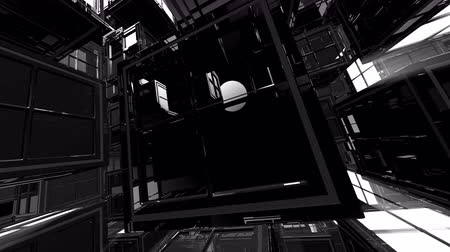 geometric : 4K Abstract Black and White 3D Shape VJ Animation Stock Footage