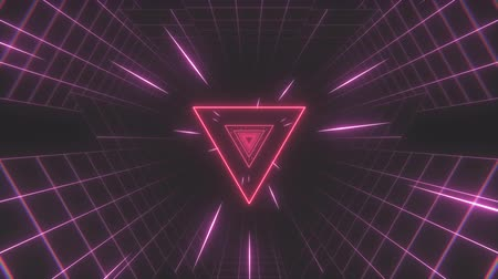 futurismus : Retro-futuristic 80s tunnel triangle grid background. Perfectly seamless looped opener animation.