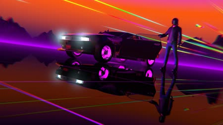 video loop : Retro-futuristic 80s style sci-Fi car background. Seamless loop 3D video animation