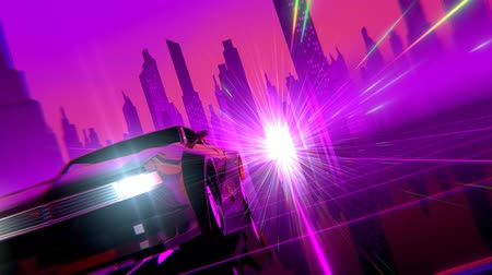 gry komputerowe : Retro-futuristic 80s style sci-Fi car background. Seamless loop 3D video animation