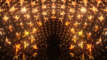 passagem : Golden star gate video stage background. Seamless loop motion graphics for nightclub, ceremony visual projection, screen, music video, festival entertainment, visual art, party or fashion show Vídeos