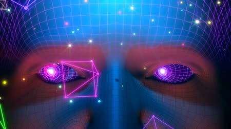 android : 3D motion graphics of the humanoid face and glowing shapes passing around. Retro-futuristic style seamlessly looping 3D animation Stock Footage