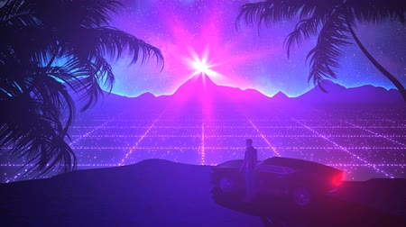 fantasia : Retro-futuristic 80s style night and day series. Perfectly looped VJ animation.