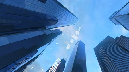 currency trading : Seamlessly looping video animation of abstract economic modern style.. View of towering skyscrapers under moving clouds in the sky