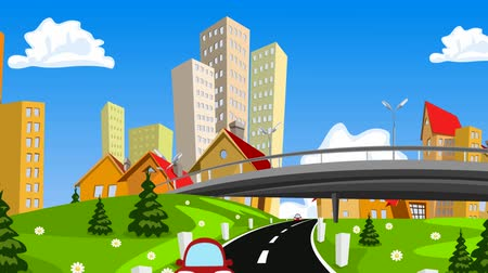 капитал : Vector cartoon city and highway with cars. Стоковые видеозаписи