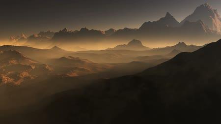 Марс : Sunset on Mars. Mars mountains, view from the valley after dust storm
