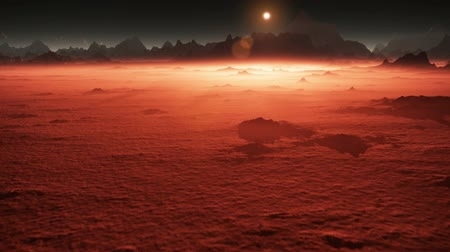 astronomical : Sunset on Mars. Mars mountains, view from the valley after dust storm