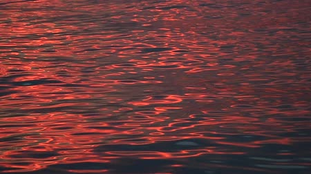 reflexão : Sea wave reflection of sunset light