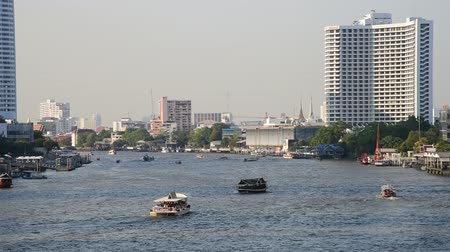 BANGKOK, THAILAND - 13 MAR : Ferry boat at Chao Phraya river on 13 March 2019 in Bangkok, Thailand