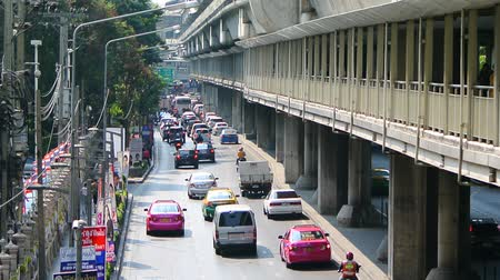 BANGKOK, THAILAND - 13 MAR : Traffic jam at Chaloem Phao Junction on 13 March 2019 in Bangkok, Thailand