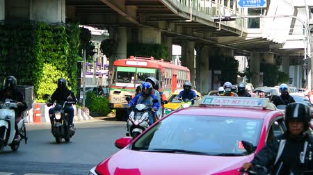 BANGKOK, THAILAND - 15 MAR : Traffic at Ratchaprasong junction on 15 March 2019 in Bangkok, Thailand