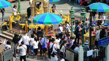 BANGKOK, THAILAND - 15 MAR : Tourist visit at Erawan Shrine on 15 March 2019 in Bangkok, Thailand