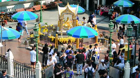 worship : BANGKOK, THAILAND - 15 MAR : Tourist visit at Erawan Shrine on 15 March 2019 in Bangkok, Thailand