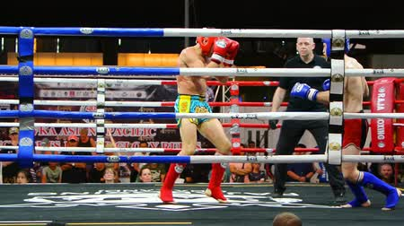 BANGKOK, THAILAND - 15 MAR : Unidentified kick boxing fighter fighting at boxing ring on 15 March 2019 in Bangkok, Thailand Vídeos