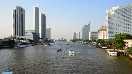 vários : BANGKOK, THAILAND - 13 MAR : Trasport in Chao Phraya river on 13 March 2019 in Bangkok, Thailand