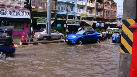 CHONBURI, THAILAND - 7 JUNE : Traffic with flood on 7 June 2019 in Sriracha, Chonburi Thailand