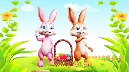 easter : Illustration of Easter bunny with eggs basket