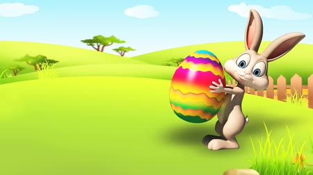 easter : Illustration of Easter bunny with eggs
