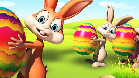 lentefeest : Illustratie van Easter bunny met eieren Stockvideo