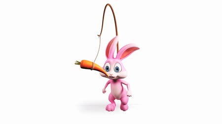 adorable : Illustration of Easter bunny with carrot and alpha channel Stock Footage