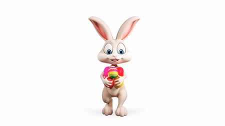 canal : Illustration of Easter bunny with egg and alpha channel Stock Footage
