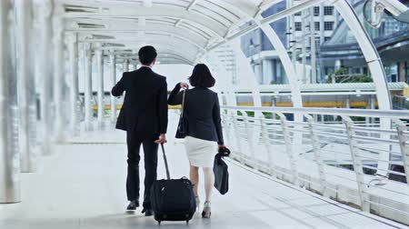 Dolly shot with behind of the businessman dragging a baggage and pretty businesswoman hold briefcase, they are walking and talking together Vídeos