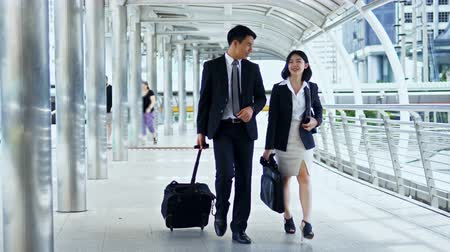The businessman dragging luggage and pretty businesswoman walking and talking together and they walk through the camera Vídeos