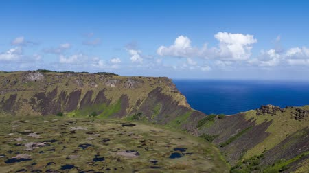 huni : Rano Kau volcano on Easter Island, Chile Stok Video