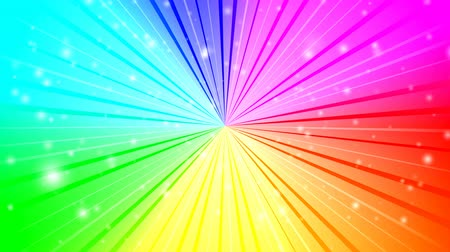 spektrální : Rotating rays with burst effect and particles on colorful radial gradient background made of rainbow spectral colors. 4K UltraHD motion graphic animation.