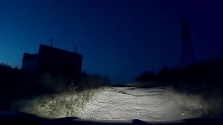 low lighting : 30s video of mysterious mystical strange dangerous road at dark night. Stock Footage