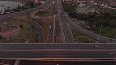 otoyol : Bangkok Expressway Road traffic an important infrastructure in Thailand - Aerial top view photo from flying drone Stok Video
